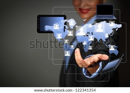 Modern wireless technology and social media illustration - stock photo