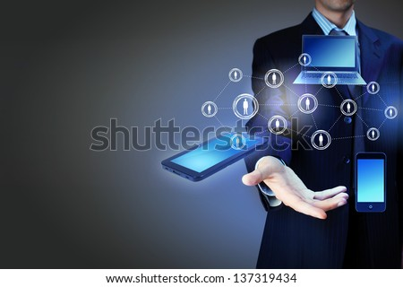 Modern wireless technology and social media illustration - stock photo