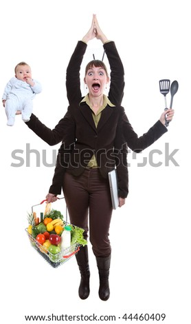 Modern woman having to deal with business and her personal life - stock photo