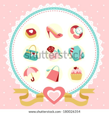 modern women accessories icon set with pink background - stock photo