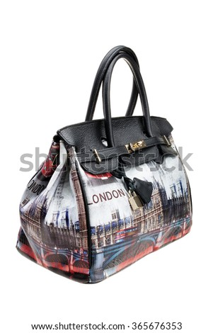 Modern womens bag, London stile, isolated on white background.