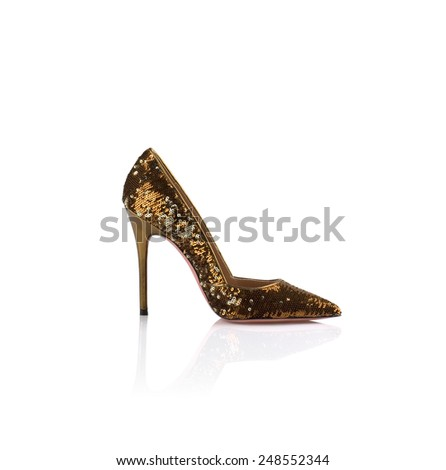 Modern womens fashion shoes isolated on white background - stock photo