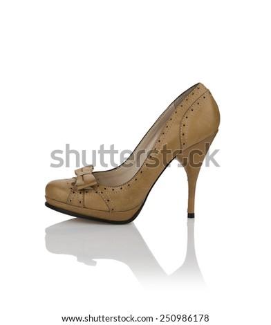 Modern womens fashion shoes isolated on white background - stock photo