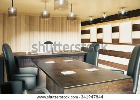 Modern wood style office with furniture 3D Render