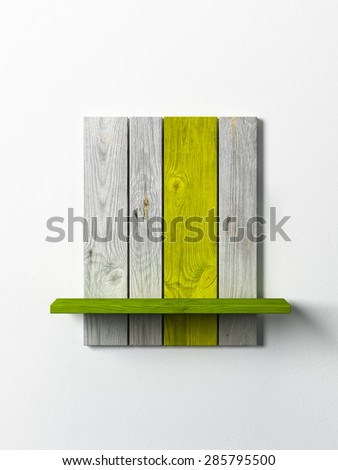 modern wooden bookshelf on the white wall - stock photo