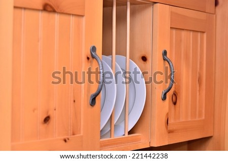 Modern wooden cabinet - stock photo