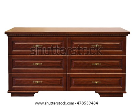 modern wooden chest drawer isolated on white background