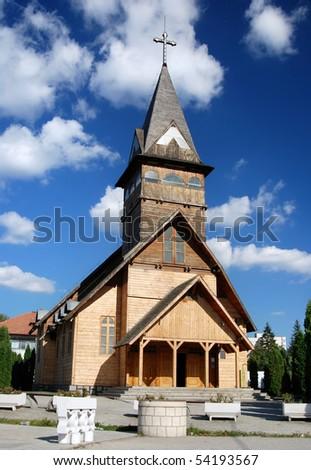 Modern wooden church in Brasov city, Romania - stock photo