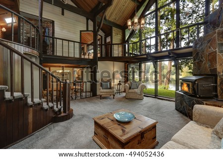 Modern Wooden Cottage House Interior With Living Room Close Up. Gorgeous  Fireplace With Natural Stone