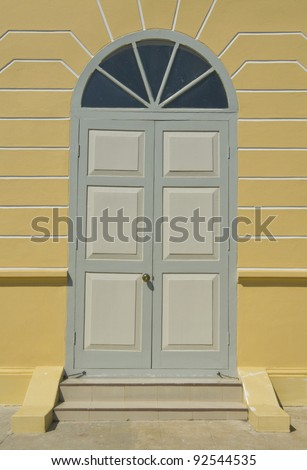 Modern Wooden Door with 2 Wings at Summer Palace of the Thai king (Bang Pa-In Palace), Thailand - stock photo