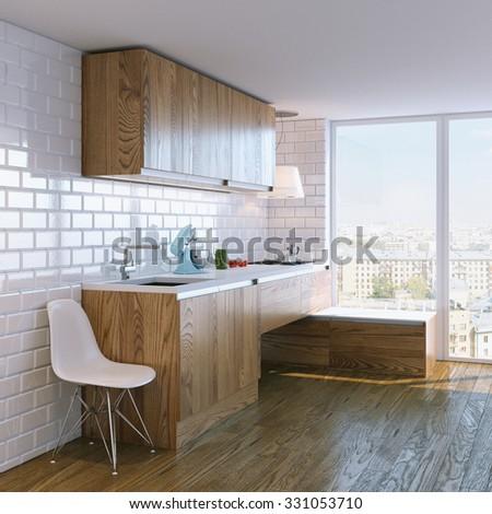 modern wooden kitchen interior with big window - stock photo
