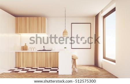 Modern Wooden Kitchen Sink Table Top Stock Illustration