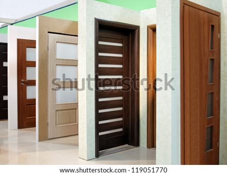modern wooden office and home doors expo - stock photo