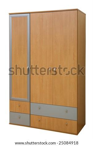 modern wooden wardrobe on a white background - stock photo
