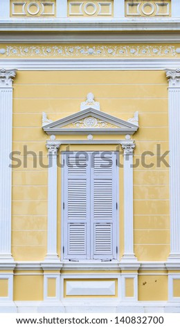 Modern Wooden windows at Summer Palace of the Thai king (Bang Pa-In Palace), Thailand - stock photo