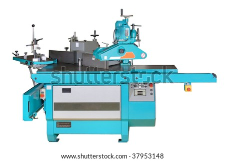 Modern woodworking mashine for milling.  Isolated on white - stock photo