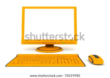 modern work desk with a computer display, a wireless keyboard and a wireless mouse - orange and black design - stock photo