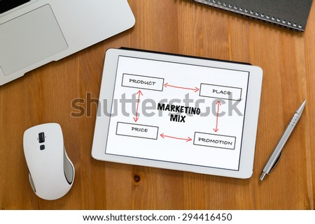 Modern working desk with tablet showing marketing mix concept - stock photo
