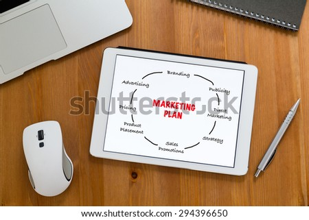 Modern working desk with tablet showing marketing planning - stock photo