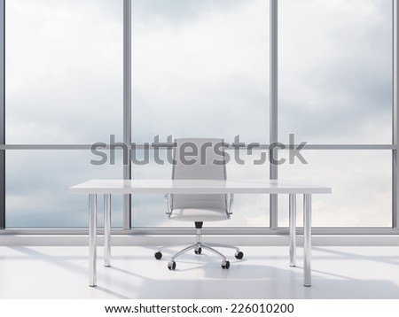 Modern workplace in the office with windows and city view.  - stock photo