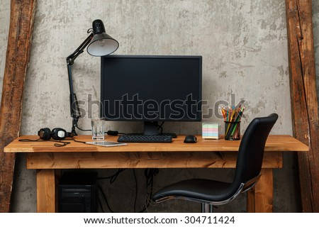 Modern workplace with computer - stock photo