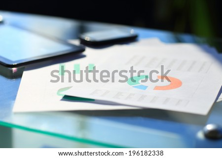 Modern workplace with digital tablet, mobile phone, pen - stock photo