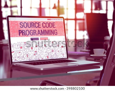 Modern Workplace with Laptop Showing Landing Page in Doodle Design Style with Text Source Code Programming. Toned Image with Selective Focus. 3D Render. - stock photo