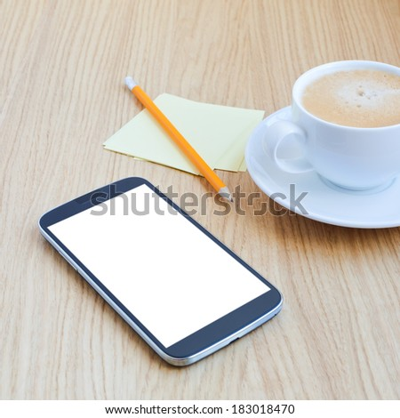 Modern workplace with mobile phone, pencil, cup of coffee and note papers - stock photo