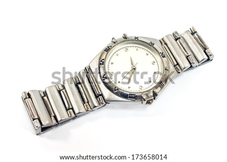 Modern wrist watch isolated on white - stock photo