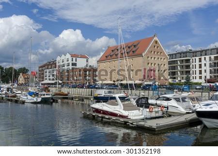 Modern, Yacht Harbor on the Motlawa river in Gdansk, Poland - stock photo