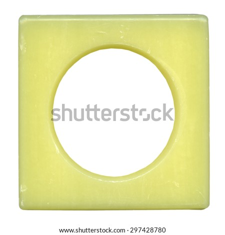 Modern yellow plastic picture frame, isolated on white background with clipping path  - stock photo
