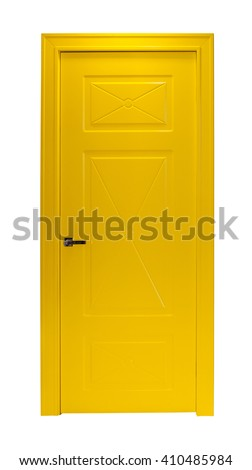 Modern yellow room door isolated on white background - stock photo