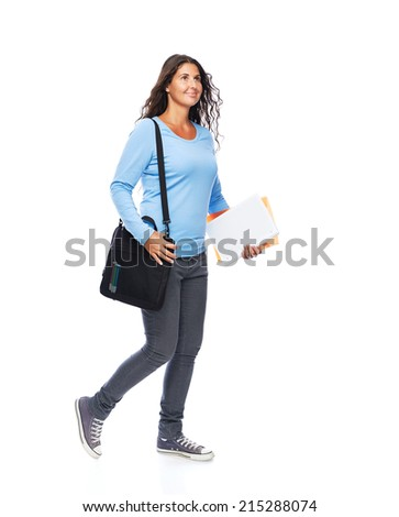 Modern Young female College Student Walking Isolated - stock photo