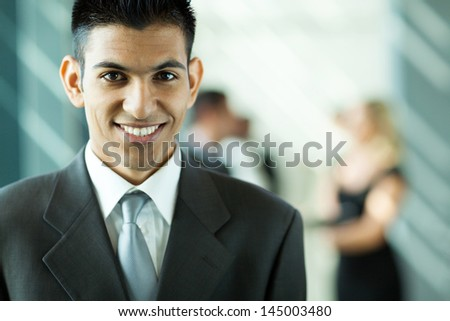 modern young middle easter businessman portrait in office - stock photo