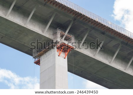 Modernization of a highway bridge - stock photo