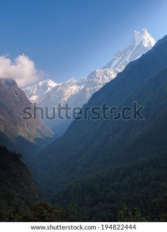 Modi Khola Valley, The Way to Annapurna Base Camp, Nepal - stock photo