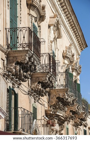 Modica baroque balcony, Modica, Ragusa, Sicily, Italy, Europe