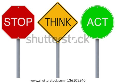 Modified colorful road signs with a safety message - stock photo