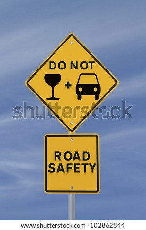 Modified road safety sign on the danger of drinking and driving - stock photo