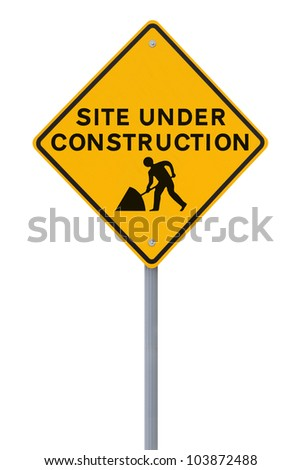 Modified road sign indicating a site under construction (on white) - stock photo