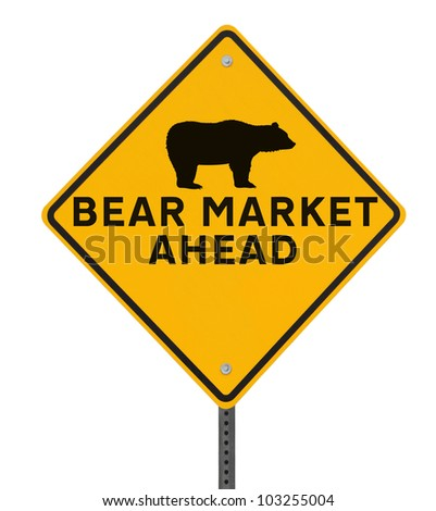 Modified road sign warning of a �bearish� market ahead. Isolated on white with clipping path. - stock photo
