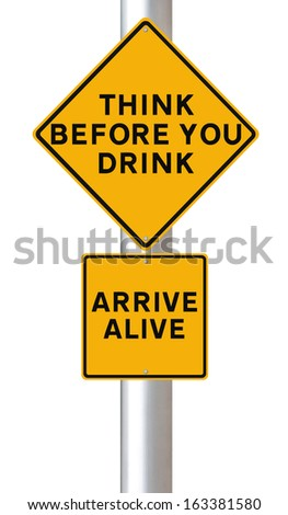 Modified road sign warning of the danger of drinking and driving