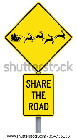 Modified road sign with a Christmas theme. (Silhouette terms of use allows for commercial usage.)