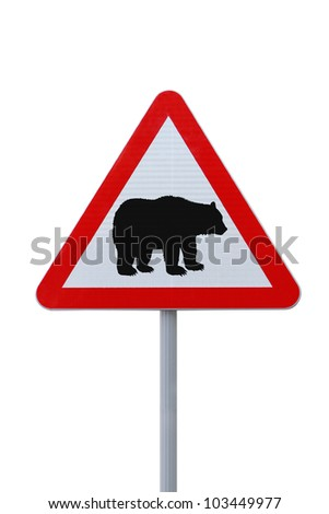 Modified road warning sign with a bear. Applicable to financial concepts.