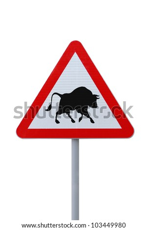 Modified road warning sign with a bull. Applicable to financial concepts.