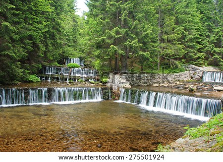 Modry potok and river upa in Obri dul area, Krkonose national park (English: Giant Mountains), Czech republic. - stock photo