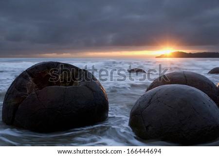 Moeraki Boulders, Coastal Otago, South Island, New Zealand - stock photo