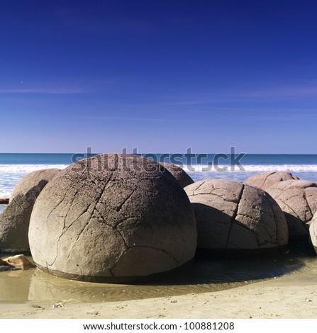 Moeraki boulders, Moeraki, New Zealand - stock photo
