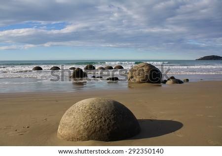 Moeraki Boulders. Near Oamaru. Otago coast, New Zealand - stock photo