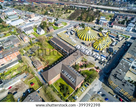 MOERS / GERMANY - APRIL 01 2016 - Circus FlicFlac under the sun,aerial